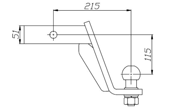 sfera palla gancio di traino 51x215x115 Jeep Dodge Nissan Mercedes Suzuki AH-2